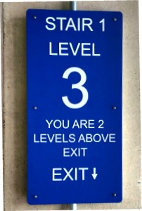 Stairwell Means of Egress Sign Raised Tactile and Braille Exterior Grade Photopolymer