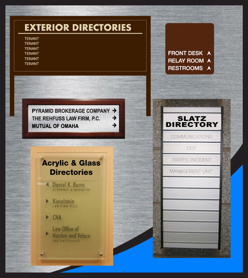 Interior and Exterior Directory Signage Glass, Acrylic, Slatz, Post and Panel, Brushed Aluminum